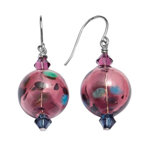 Sterling Silver Crystal Dotted Artisan Glass Drop Earrings