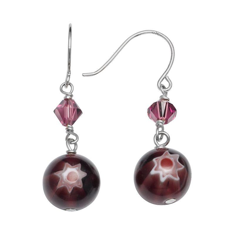 Sterling Silver Crystal Flower Artisan Glass Drop Earrings