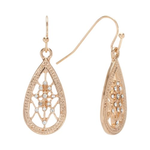 LC Lauren Conrad Gold Tone Simulated Crystal Teardrop Earrings