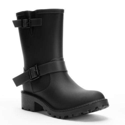 Bootsi Tootsi Women's Moto Water Resistant Rain Boots