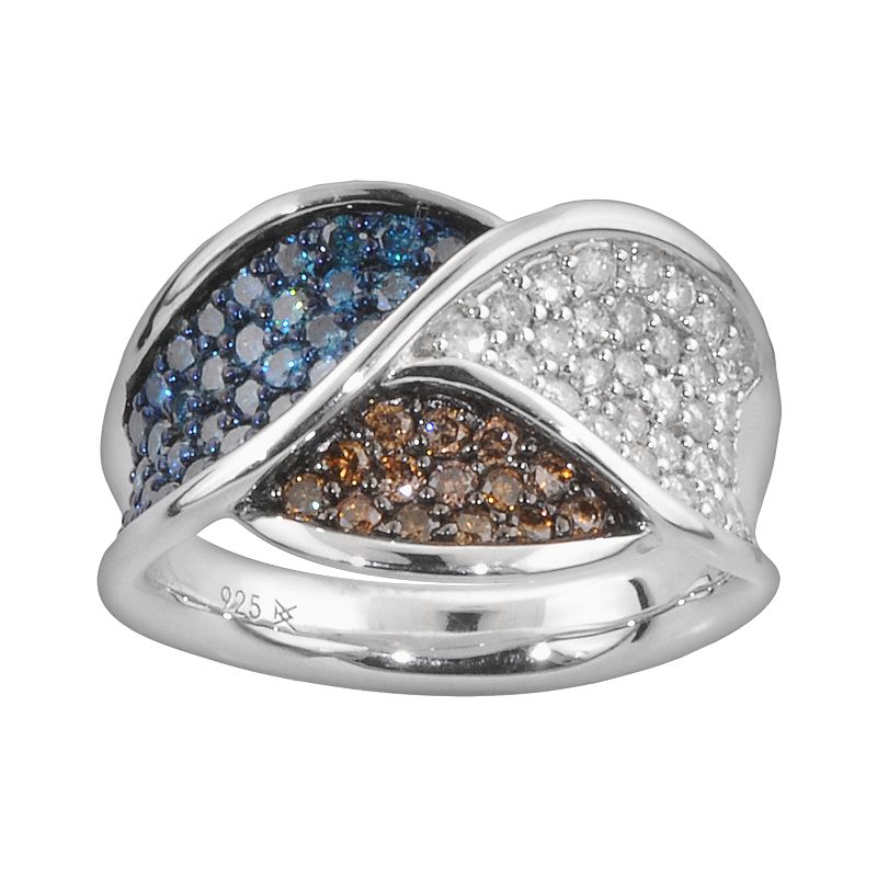 Sterling Silver 1-ct. T.W. Blue, Champagne and White Diamond Ring