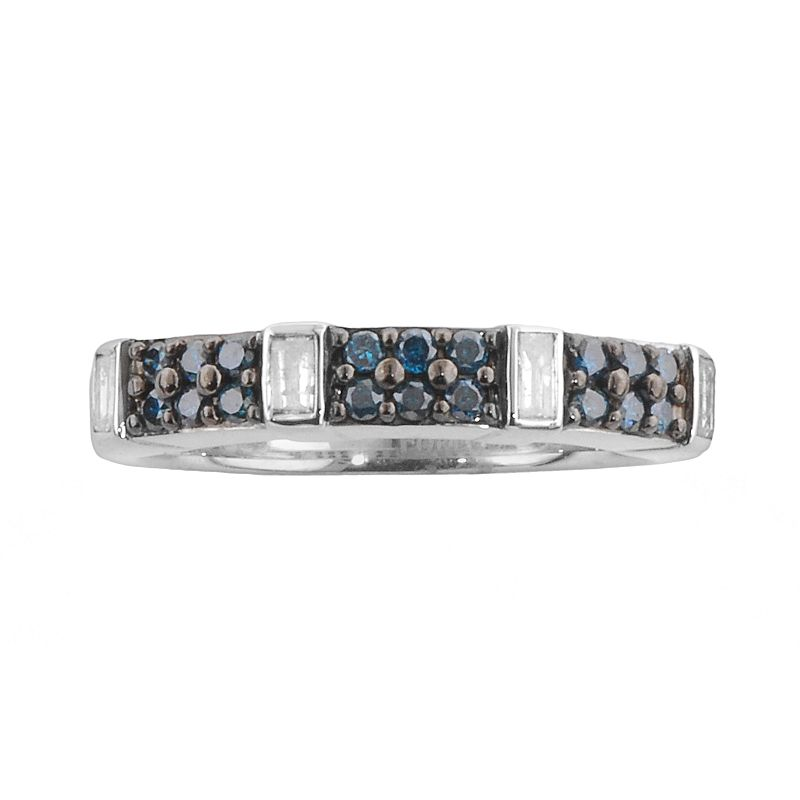 Sterling Silver .37-ct. T.W. Blue and White Diamond Ring