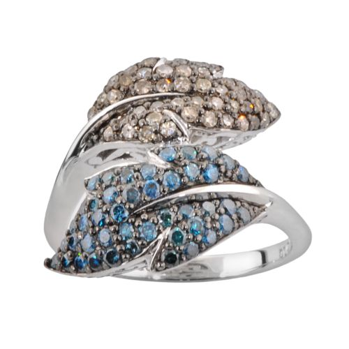 Sterling Silver 1-ct. T.W. Blue and Champagne Diamond Leaf Bypass Ring