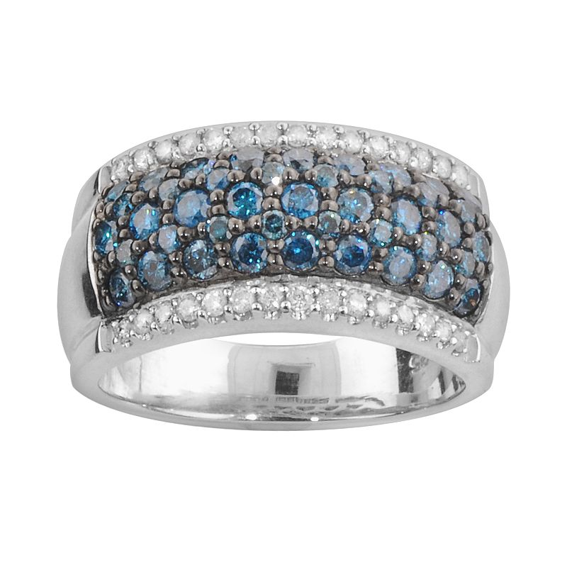 Sterling Silver 1 3/10-ct. T.W. Blue and White Diamond Ring