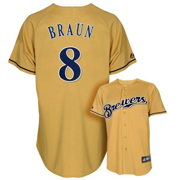 Men's Majestic Milwaukee Brewers Ryan Braun Alternate Replica MLB Jersey