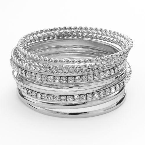 Apt. 9® Hammered and Twist Simulated Crystal Bangle Bracelet Set