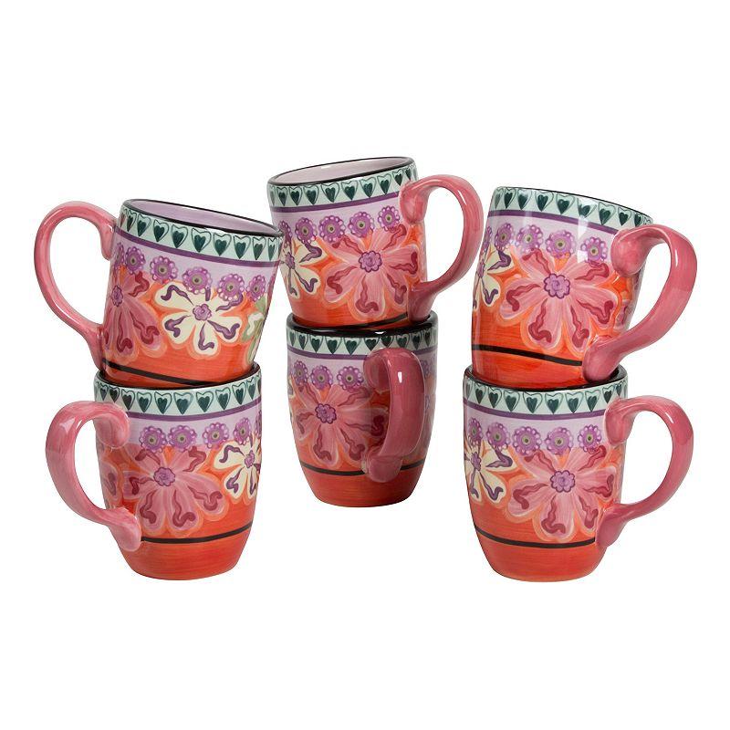 Kathy Davis Hearts and Flowers 6-pc. Mug Set