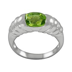 Sterling Silver Peridot Ribbed Ring by