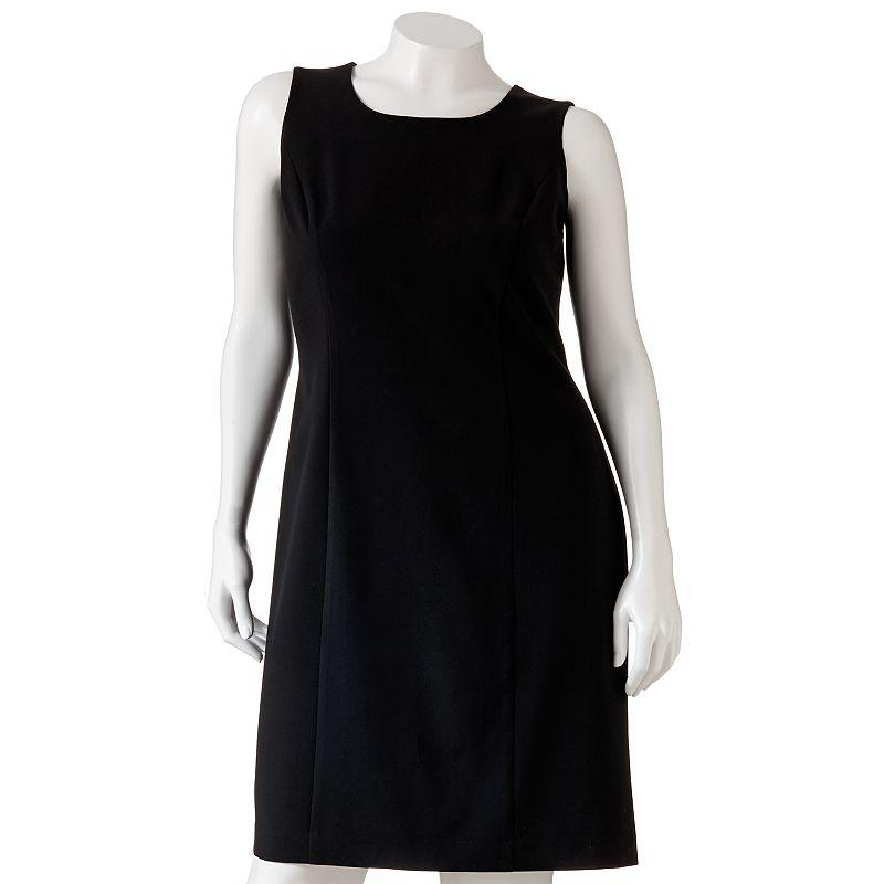 Sag Harbor Solid Sheath Dress - Women's Plus,  (Black)