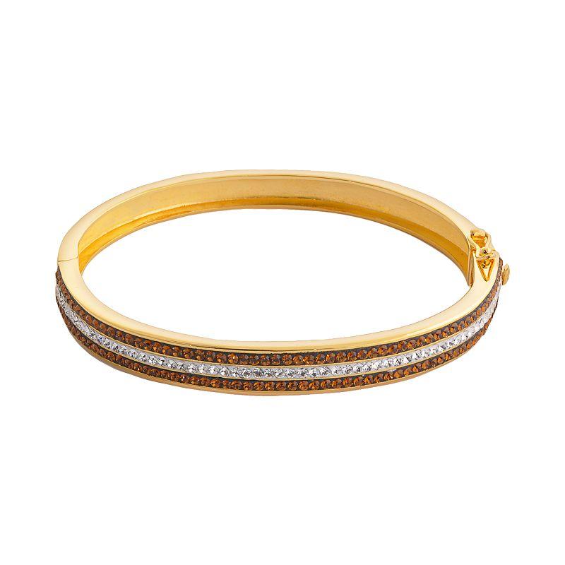 18k Gold Over Brass Crystal Striped Bangle Bracelet