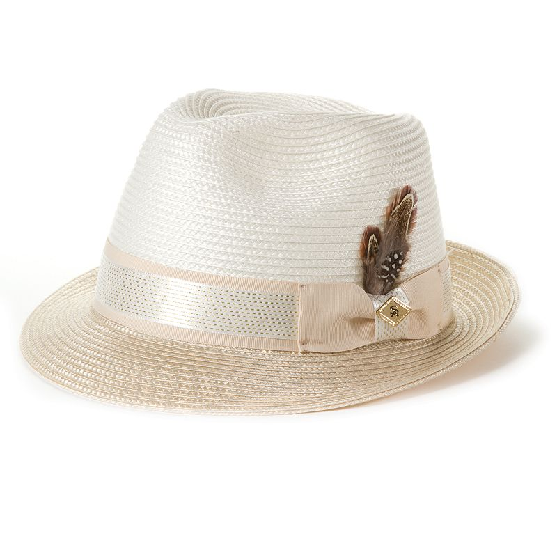 Stacy Adams Feathered Straw Fedora