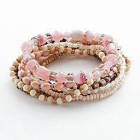Mudd® Two Tone Bead Stretch Bracelet Set
