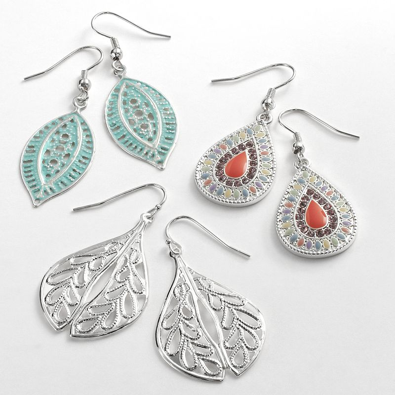 Mudd® Silver Tone Simulated Crystal Teardrop and Marquise Drop Earring Set