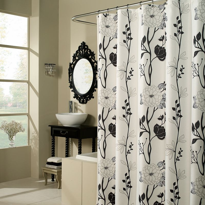 m.style Floral Fabric Shower Curtain