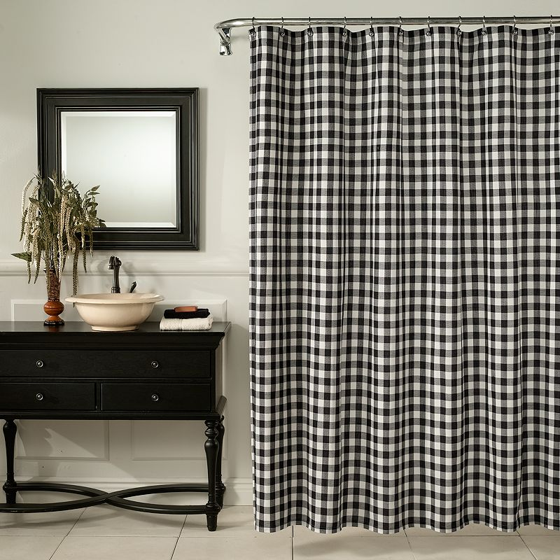 m.style Checkered Fabric Shower Curtain