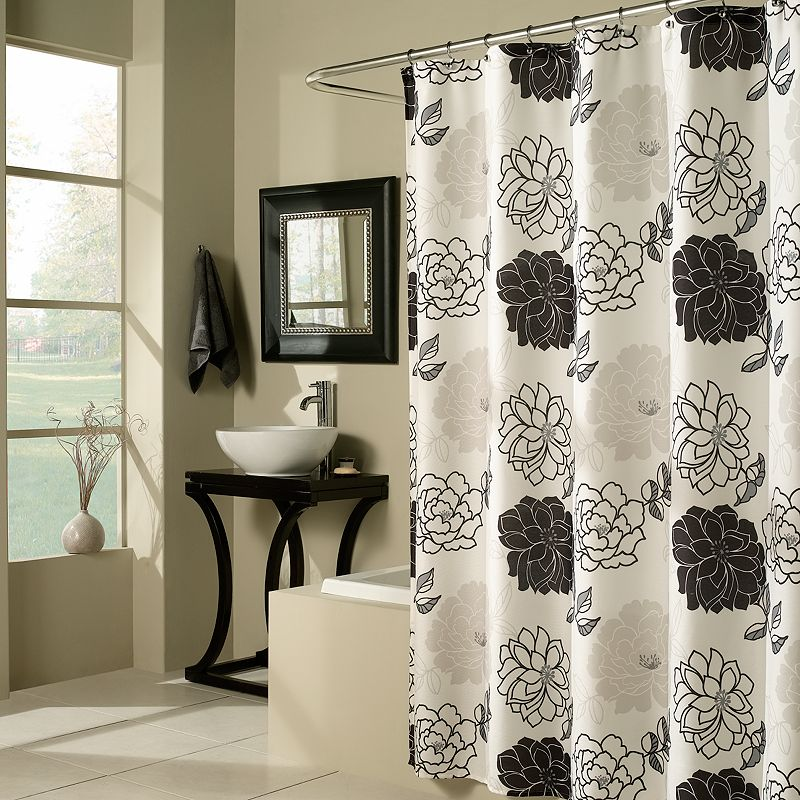 m.style Floral Summer Garden Fabric Shower Curtain