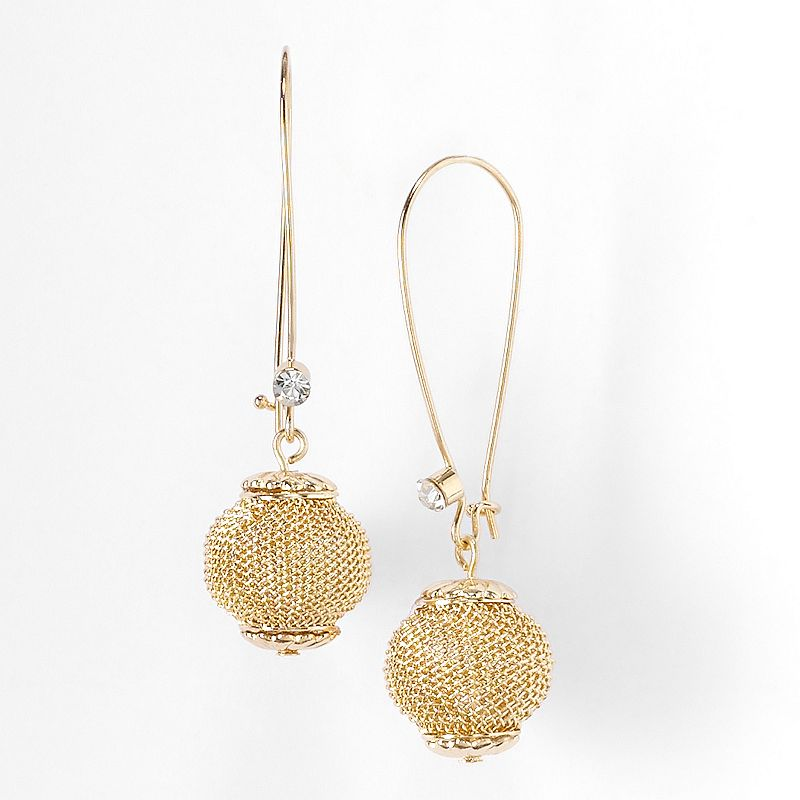 Simply Vera Vera Wang Gold Tone Bead and Simulated Crystal Drop Earrings