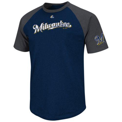 Majestic Milwaukee Brewers Big Leaguer Raglan Tee - Big and Tall