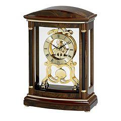 Bulova Valeria Wood Pendulum Skeleton Mantel Clock B2026 by