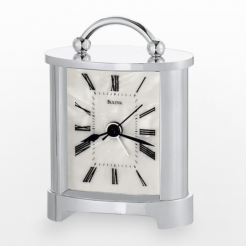 Bulova Regent Silver Tone Carriage Clock - B2634