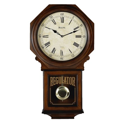 Bulova westminster melody wood schoolhouse pendulum wall for Bulova pendulum wall clock