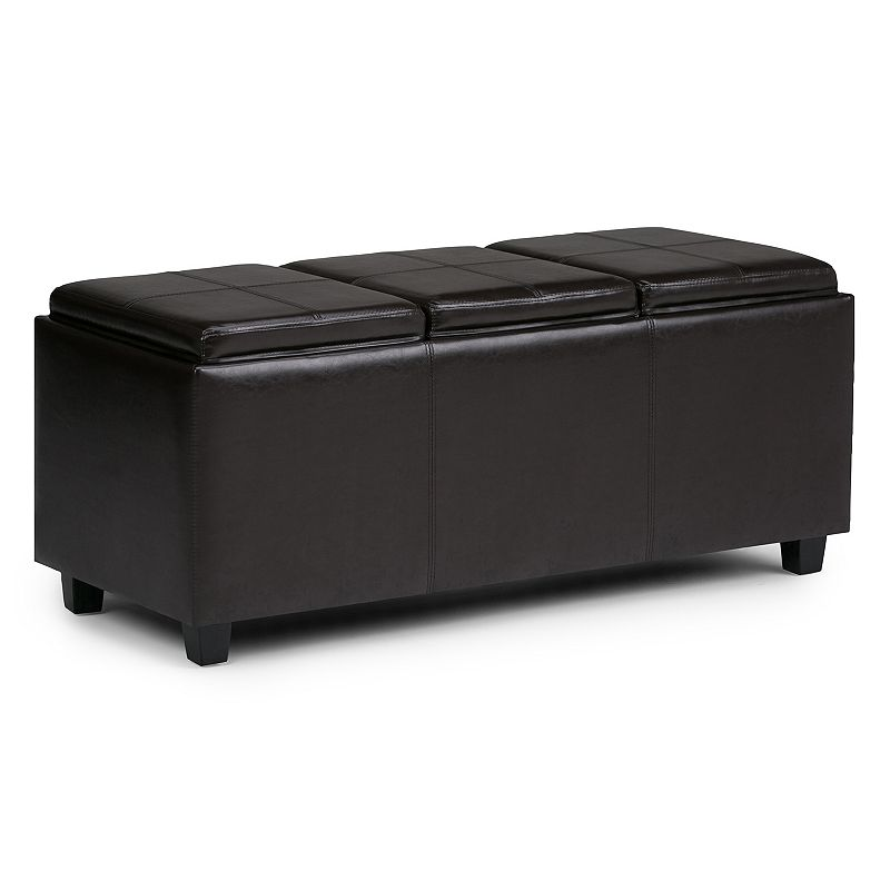 Simpli Home Avalon Large Storage Tray Ottoman