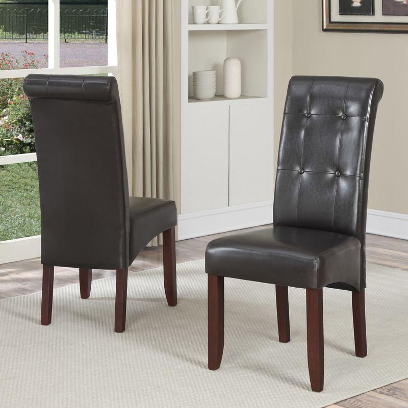 Simpli Home Cosmopolitan 2-pc. Parson Chair Set, Brown thumbnail