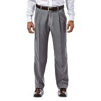 Big & Tall Haggar® eCLo™ Stria No-Iron Classic-Fit Comfort Waist Pleated Dress Pants