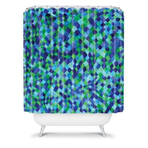 DENY Designs Amy Sia Watercolour Diamonds Fabric Shower Curtain