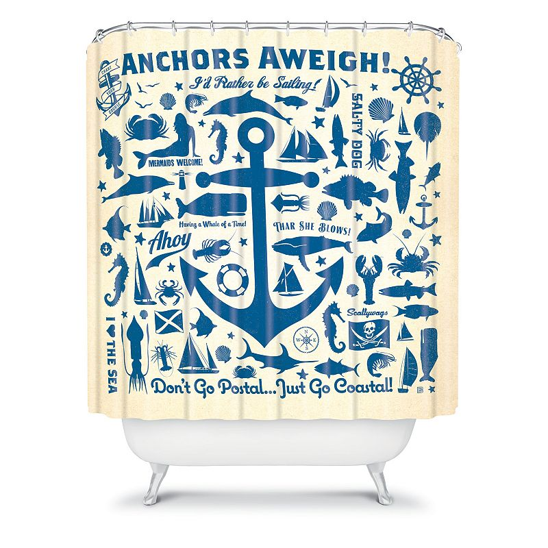 DENY Designs Anderson Design Group Anchors Away Fabric Shower Curtain