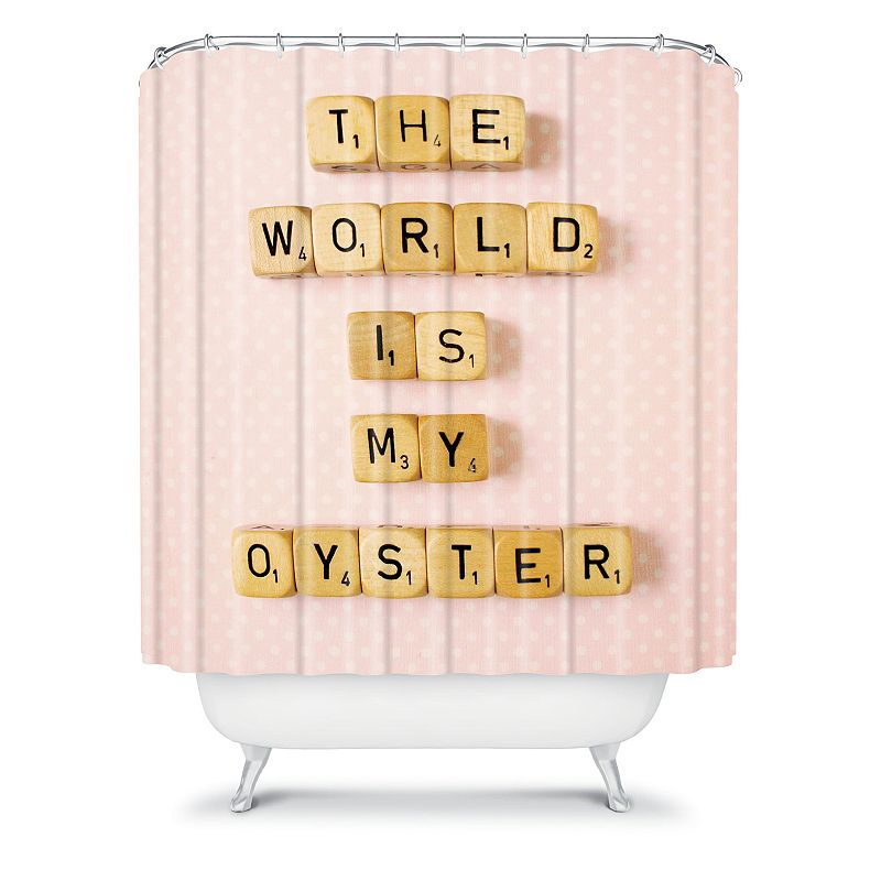 DENY Designs Happee Monkee The World is my Oyster Fabric Shower Curtain