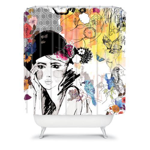 DENY Designs Holly Sharpe Dreamer Fabric Shower Curtain