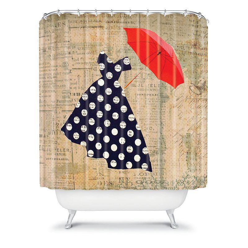 DENY Designs Irena Orlov Red Umbrella Fabric Shower Curtain