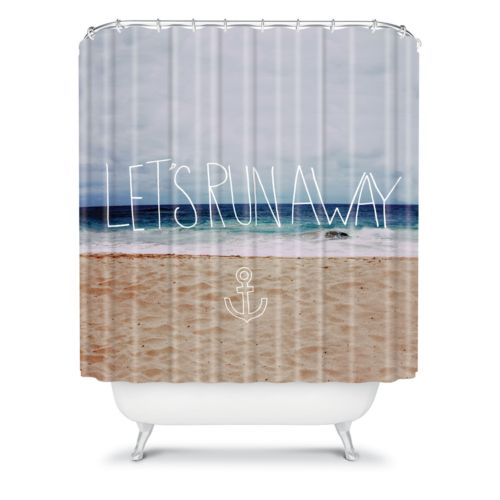 DENY Designs Leah Flores Let's Run Away III Fabric Shower Curtain