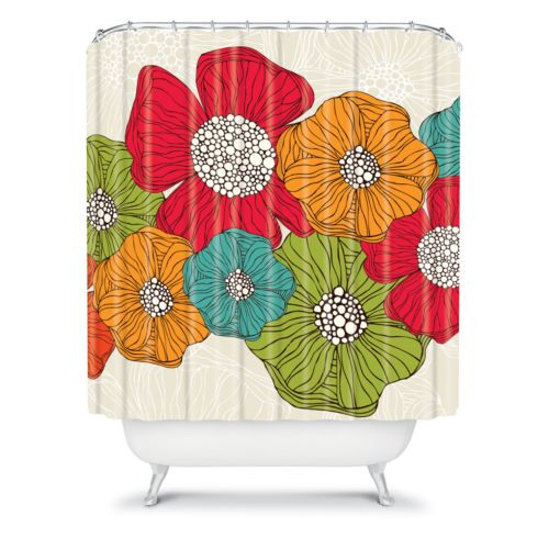 DENY Designs Valentina Ramos Flowers Fabric Shower Curtain