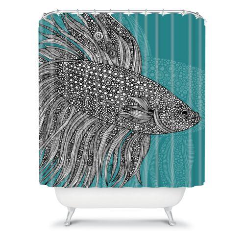 DENY Designs Valentina Ramos Beta Fish Fabric Shower Curtain