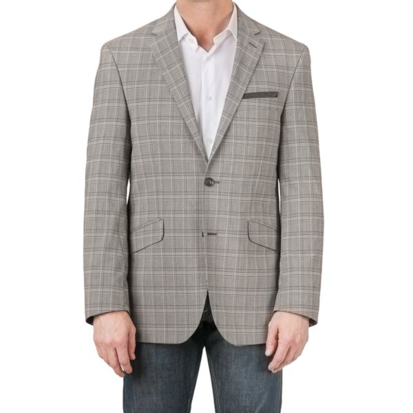 Men's Billy London Slim-Fit Plaid Black & White Suit Jacket