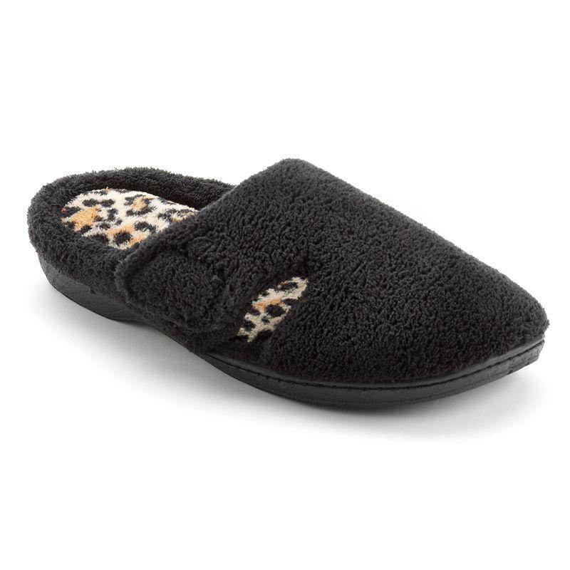 Dearfoams Leopard Velcro Clog Slippers