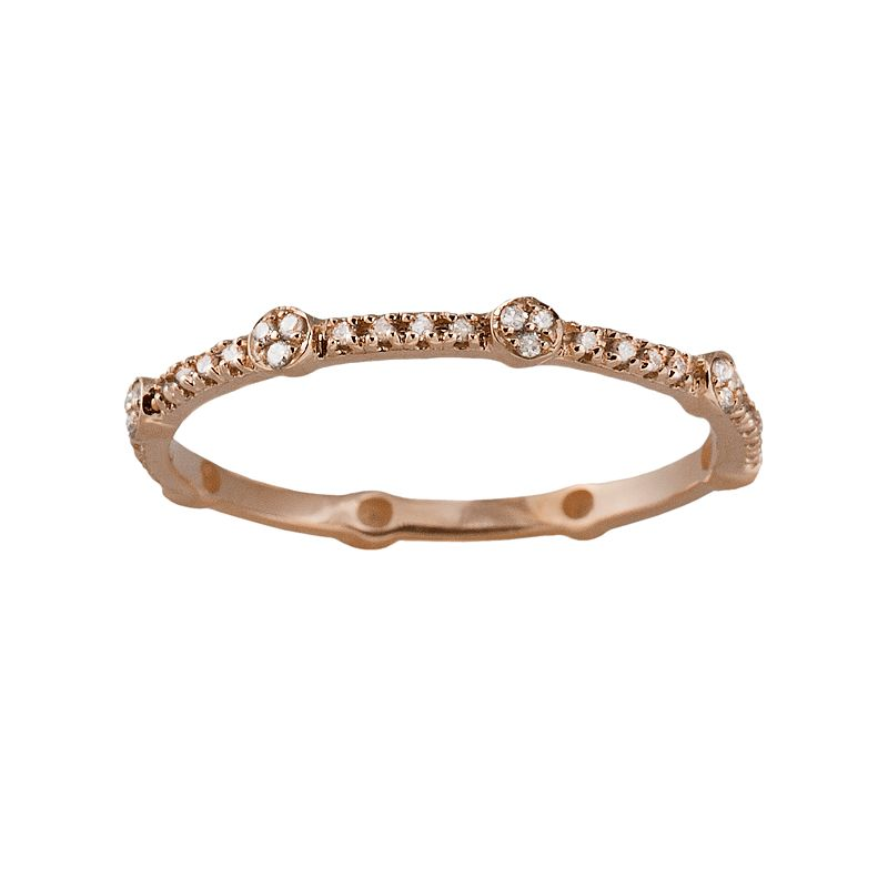 10k Rose Gold 1/6-ct. T.W. Diamond Eternity Stack Ring