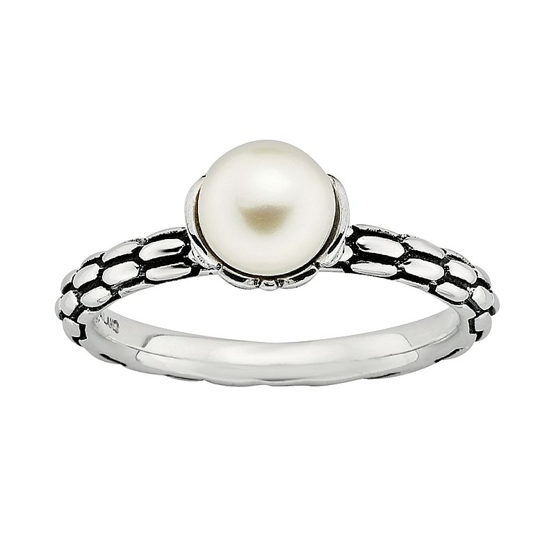 Stacks and Stones Sterling Silver Freshwater Cultured Pearl Stack Ring