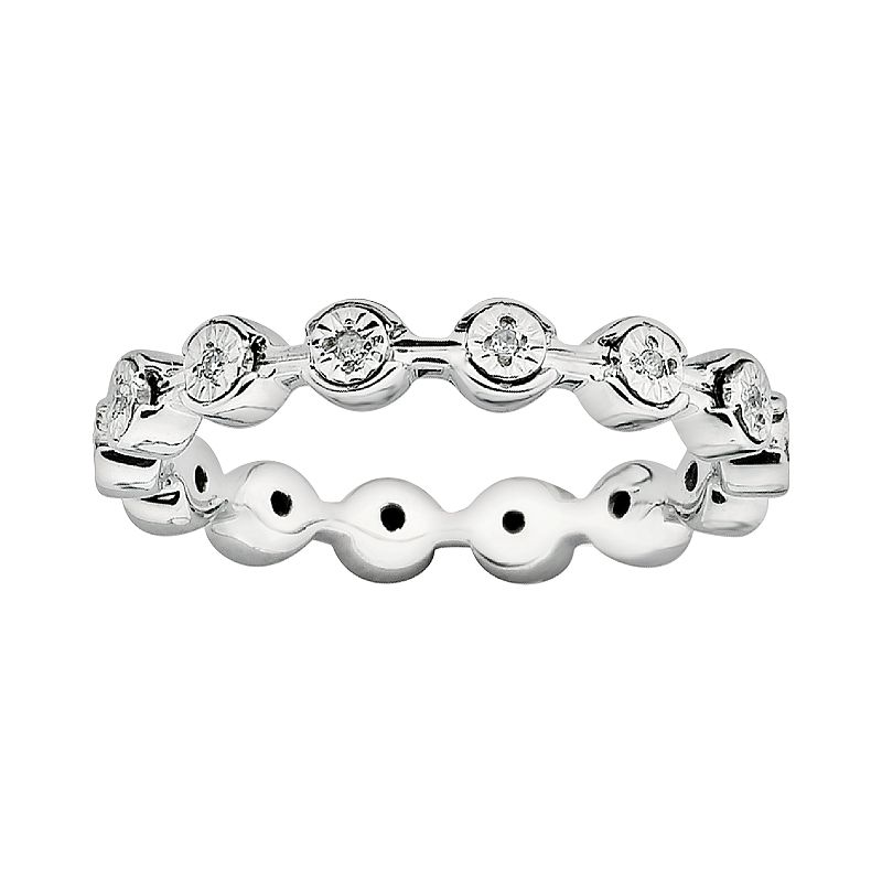 Stacks and Stones Sterling Silver Diamond Accent Stack Ring