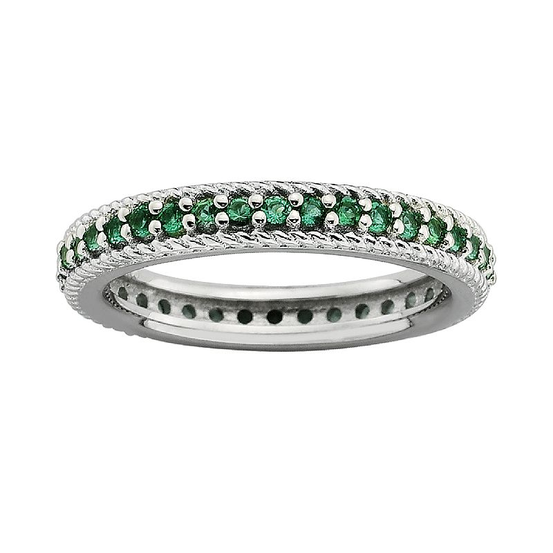 Stacks and Stones Sterling Silver Lab-Created Emerald Eternity Stack Ring