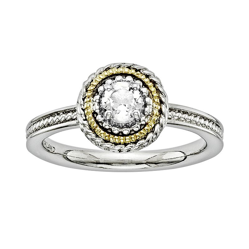 Stacks and Stones 14k Gold and Sterling Silver White Topaz Textured Stack Ring