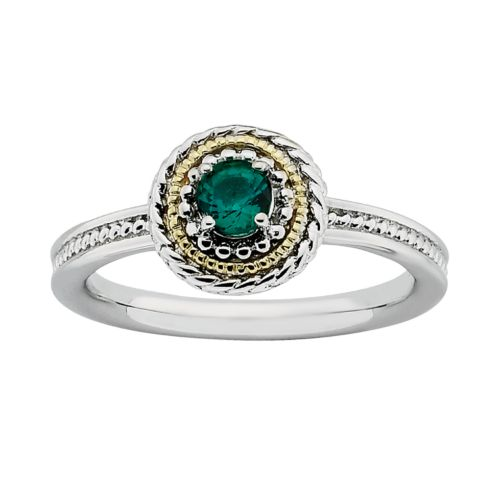 Stacks and Stones 14k Gold and Sterling Silver Lab-Created Emerald Textured Stack Ring