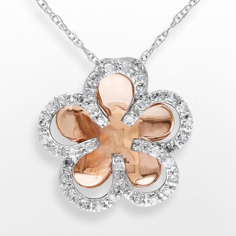 10k Two Tone Gold 1/5-ct. T.W. Diamond Flower Pendant