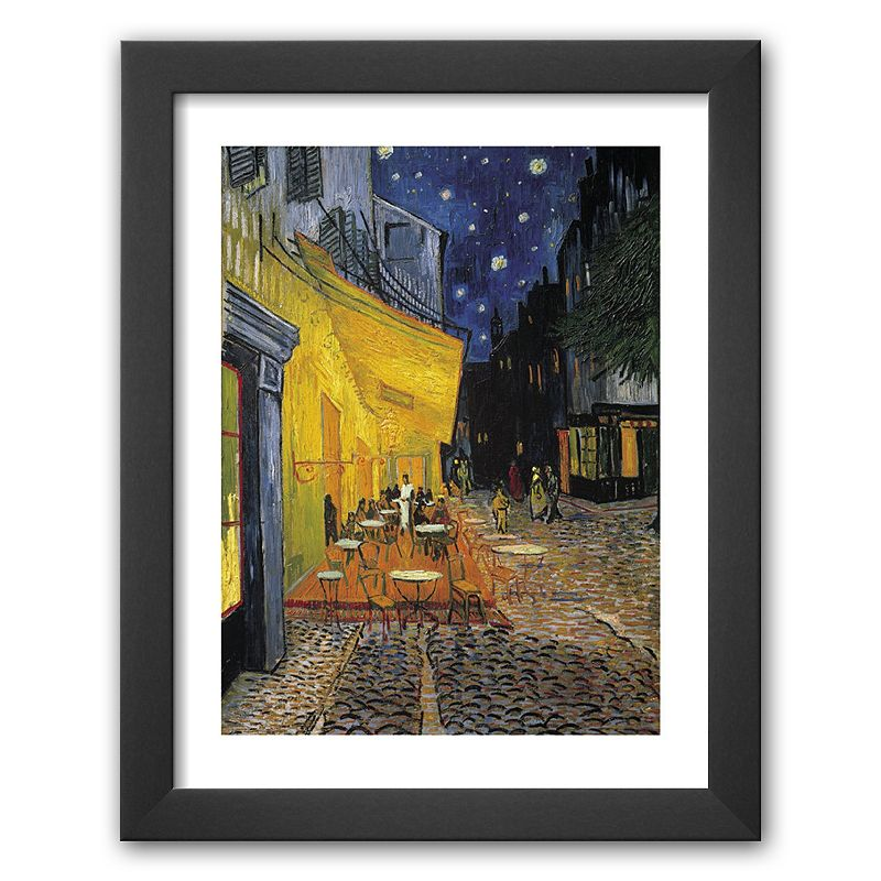 Art.com Cafe Terrace on the Place du Forum, Arles, at Night, c. 1888 Framed Art Print By Vincent van Gogh