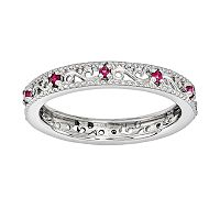 Stacks & Stones Sterling Silver Lab-Created Ruby Stack Ring