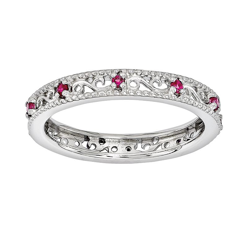 Stacks and Stones Sterling Silver Lab-Created Ruby Stack Ring