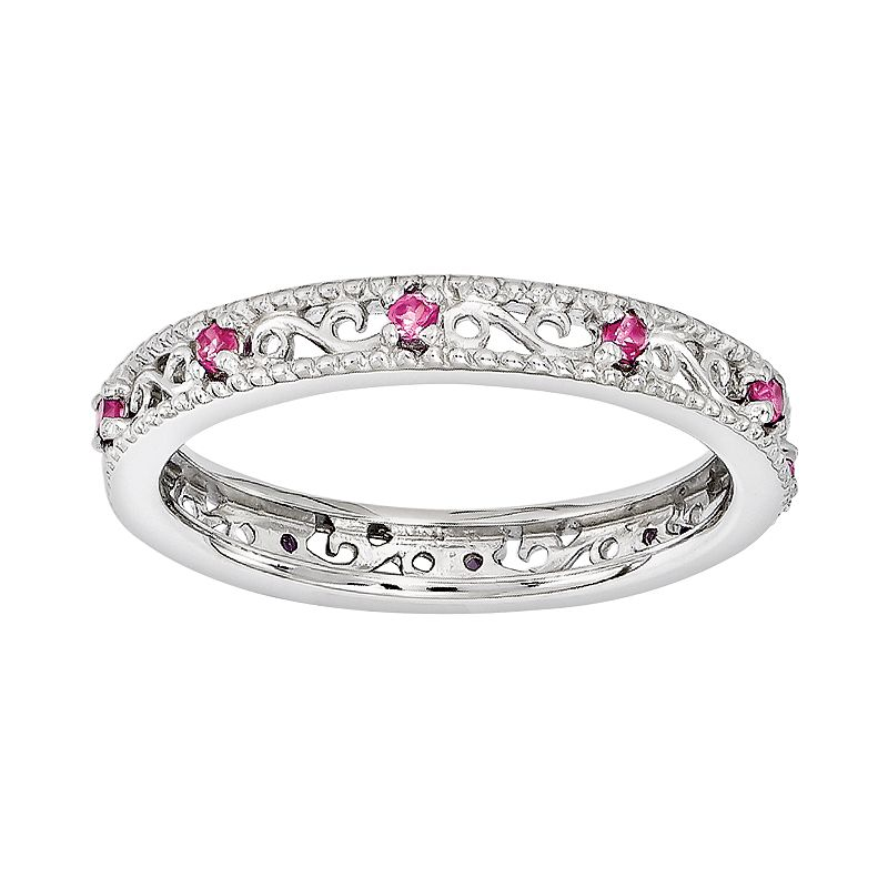 Stacks and Stones Sterling Silver Lab-Created Pink Sapphire Stack Ring