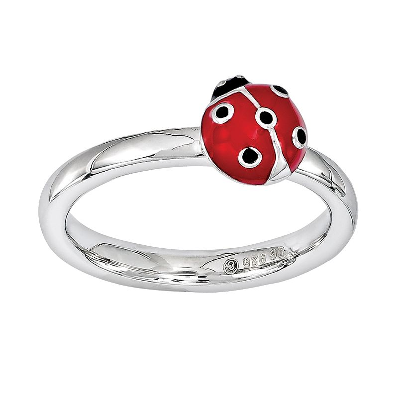 Stacks and Stones Sterling Silver Ladybug Stack Ring